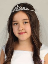 First Communion Veil with Cross Tiara