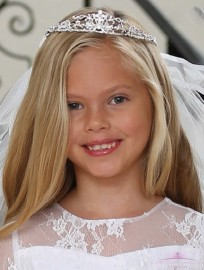 Rhinestone First Communion Tiara Crown Two Tier Veil
