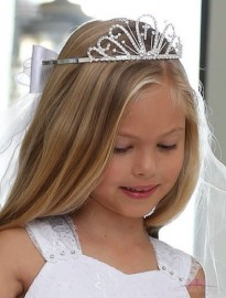 Rhinestone Cross Tiara First Communion Veil with Embroidered Cross
