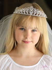Pretty First Communion Tiara Veil