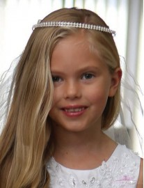 Rhinestone Hairband First Communion Veil