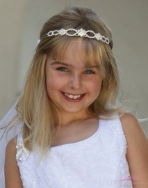 Rhinestone Headband First Communion Veil