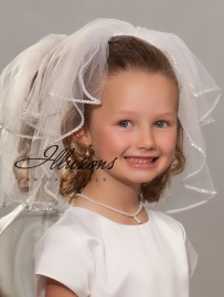 First Communion Veil with Rhinestone Trim