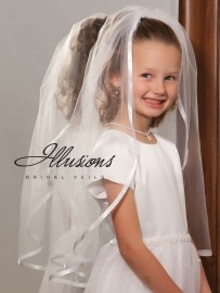 First Communion Veil with Wide Ribbon Trim