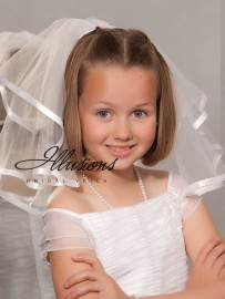 Short First Communion Veil with Satin Ribbon Trim