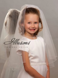 Two Layer First Communion Veil with Corded Trim