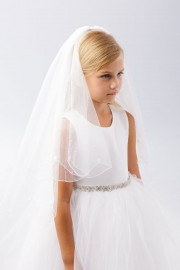 First Communion Veil Lace Flower and Pearl Beads