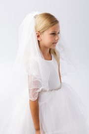 First Communion Veil Pearl Accents Merrow Edging