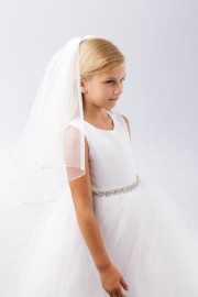 First Communion Veil with Clear Beaded Accents