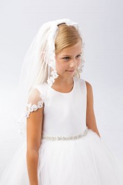 First Communion Veil with Floral Trim