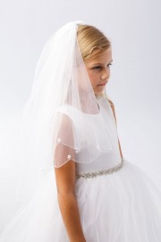 First Communion Veil Scallop Edge Pearl Accents