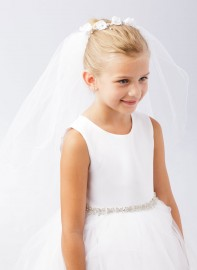 Floral First Communion Bun Wrap Veil