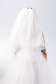 First Communion Veil with Rhinestone Cross