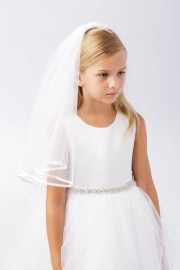 First Communion Veil with Satin Edge