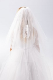 Virgin Mary First Communion Veil with Rhinestone
