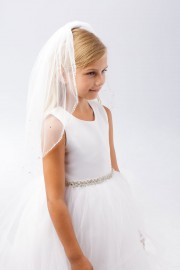 First Communion Veil with Crystal Beaded Edge