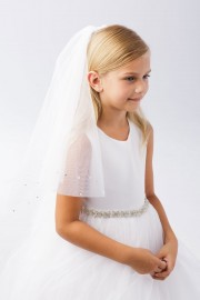 First Communion Veil with Rhinestone Beading