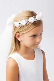 White First Communion Wreath Veil with Flowers