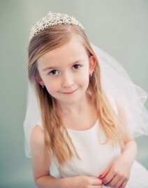 Crystal Stone Crown with First Communion Veil
