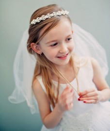 Pearl Crystal Crown with First Communion Veil