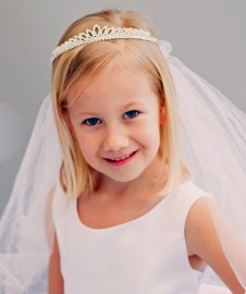 First Communion Veil with Rhinestone Princess Crown Headpiece