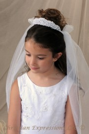 First Communion All Pearl Crown with Attached Veil