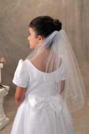 First Communion Veil Single Tier with Crystals