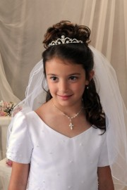 First Communion Tiara with Daisy Flower