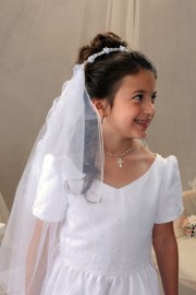 Pearl and Flowers First Communion Bun Wrap Veil