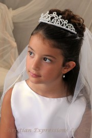 First Communion Crystal Tiara with Veil