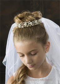First Communion Gold Crown Veil-V856