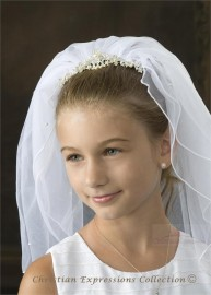 First Communion Tiara Veil -V850