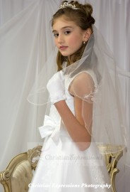 First Communion Veils with Scallop Edge