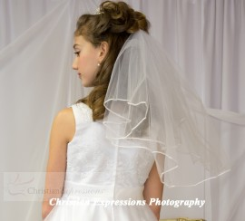 First Communion Veil Plain Two Tier White
