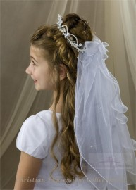 First Communion Crown Veil- V816