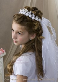 First Communion Wreath Veil with Semi Loops and Pearls