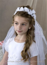 First Communion Wreath Veil with Large Satin Bows