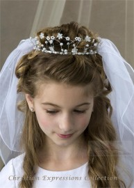 First Communion Crown Veil Wire with Pearls