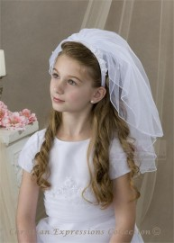 First Communion Headband Veils-V834