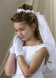 First Communion Wreath Veil- V822
