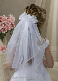Clip On First Communion Veil with Rosebud and Streamers