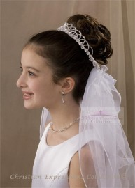 First Communion Wreath or Crown Veil-V806