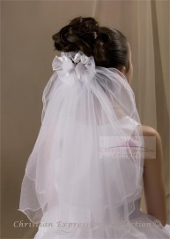 First Communion Clip Veil with Organza Bows
