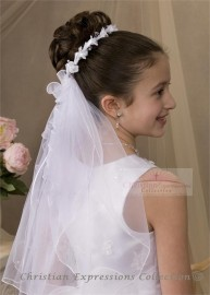 First Communion Wreath Veil with Small Flowers