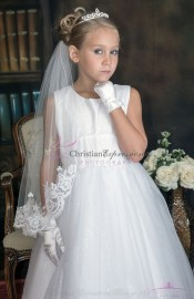 Irish First Communion Veil with Shamrocks with Lace Trim