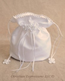 Satin First Communion Purse with Pearl Trim and Flowers
