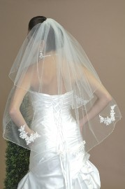 Two Tier Elbow with Lace Motifs Bridal Veil