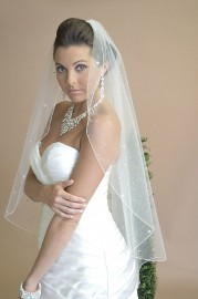 Scattered Stone Clusters Cathedral Length Bridal Veil Set