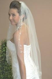 One Tier Fingertip with Floral Vine Bridal Veil