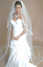 One Tier with Chiffon Ribbon Edge Cathedral Length Bridal Veil
